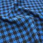 Wool Mix Dress Fabric - Blue Black Houndstooth Check